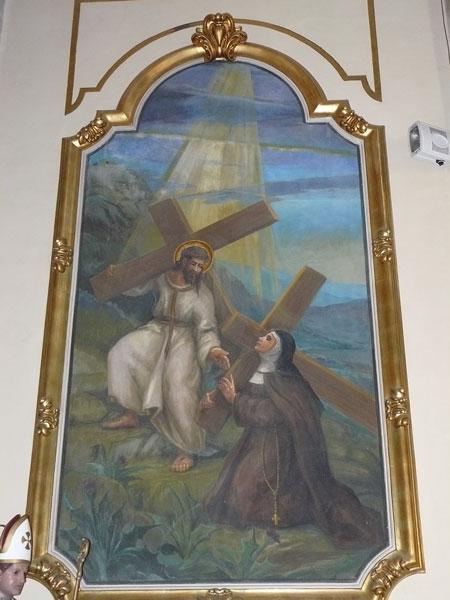 Panell mural de sor Joaquima de la Creu a l'església de Pego. Foto d'Inés Cabrera.