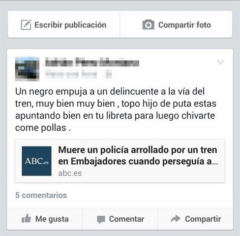 """Un detenido en Dénia por llamar """"delincuente"""" en internet al policía arrojado al tren en el metro de Madrid"""