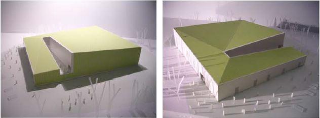 Dos infografies de l'exterior del projecte.