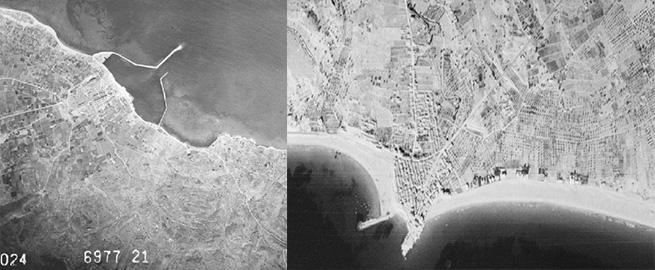 La Marina, fotografiada por la aviación militar de Estados Unidos en 1945