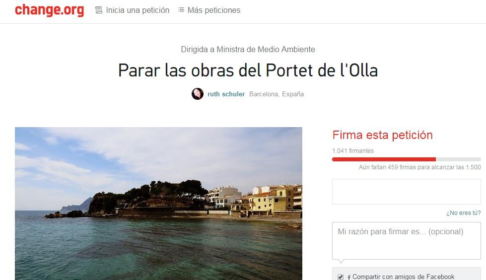 Lanzan una petición en change.org para que no se retomen las obras del Portet de l'Olla de Altea