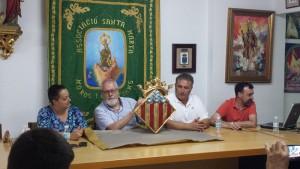 La concejala Marta Sellés, Juan Tonda, el presidente de l'Associació y Albert Alcaraz en la presentación de este miércoles.
