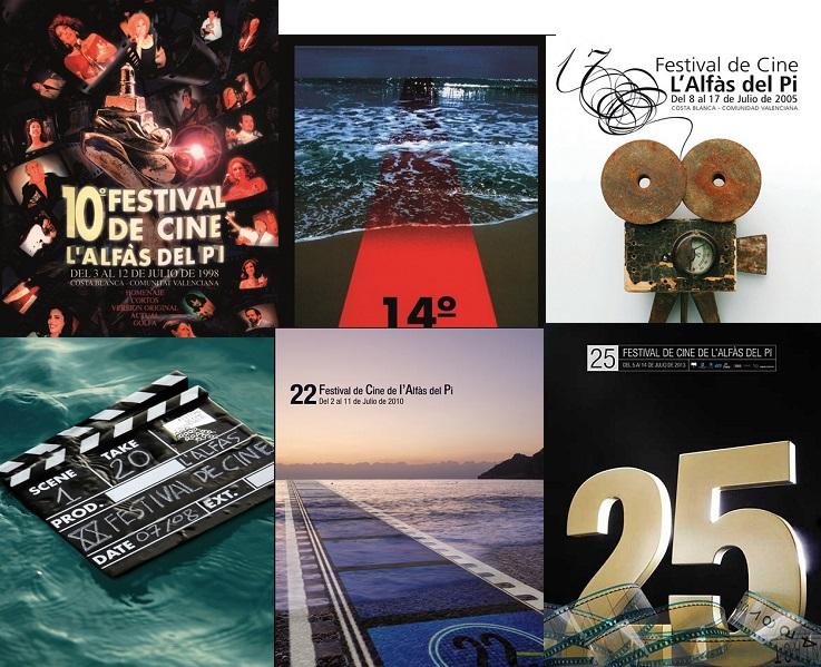 La historia del Festival de Cine de L'Alfàs a través de sus carteles: de alfombras rojas y butacas, al Faro y el mar