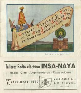 Publicidad insertada en el libro de fiestas de Pego - 1945