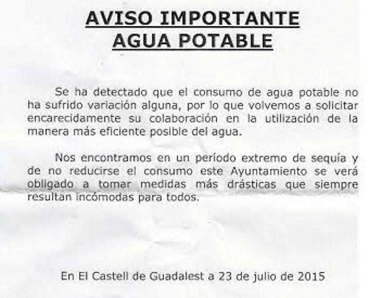 ...Y Guadalest amenaza con restricciones si no se reduce el consumo