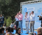 El expresidente de la Generalitat, Alberto, Fabra, junto al presidente provincial del PP, José Císcar, y el alcalde de Benidorm, Toni Pérez, el día de la presentación de su candidatura en la Ermita de Sanz