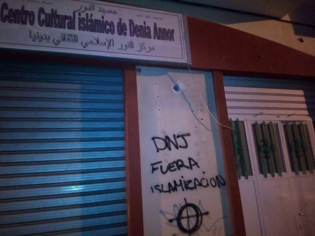 Pintadas islamófobas en un centro musulmán de Dénia