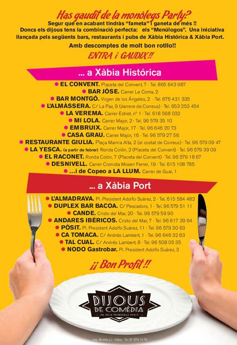"""Listado de bares y restaurantes de """"Menúlogos"""""""