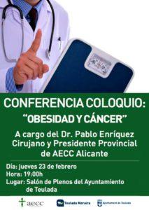 """Conferencia coloquio: """"Obesidad y cáncer"""" por el Dr. Pablo Enríquez -Teulada- @ Salón de Plenos Ayuntamiento de Teulada"""
