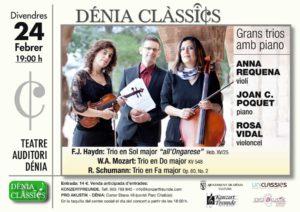 """Concierto: """"Grans Trios Amb Piano"""" por Marina Alta Trio. Festival Dénia Clàssics -Dénia- @ Teatre Auditori Centre Social"""