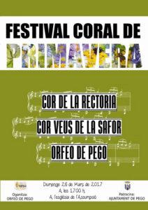 Festival Coral de Primevera: Cor de la Rectoria, Cor Veus La Safor i Orfeó de Pego -Pego- @ A l'Església de l'Assumpció