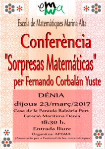 """Conferencia: """"Sorpresas Matemáticas"""" por Fernando Corbalán Yuste -Dénia- @ Casa de la Paraula, Baleària Port"""