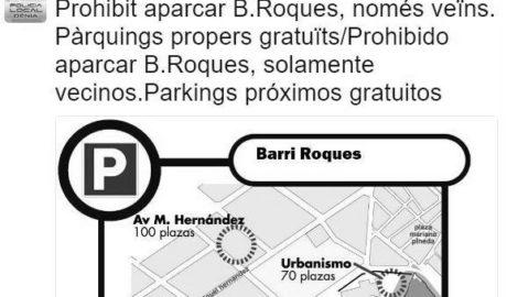 La Policía de Dénia se ve obligada a recordar por twitter que está prohibido aparcar en Les Roques si no se es vecino