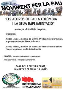 Xerrada: 'Els acords de pau a Colòmbia i la seua implementació' -Dénia- @ Casa de la Cultura, Dénia