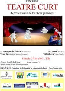 Festa del Teatre: Representació de les obres guanyadores del III Concurs Curt de Teatre -Dénia- @ Teatre Auditori Centre Social, Dénia