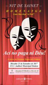 Teatre benèfic: 'Ací no paga ni Déu' per Voramar Teatre -Ondara- @ Auditori Municipal. Ondara