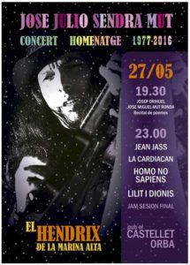 Concerts i poesia en homenatge al guitarrista Jose Julio Sendra Mut, el Hendrix de La Marina -Orba- @ Pub el Castellet, Orba
