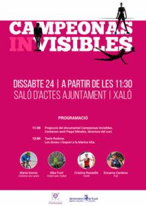 'Les dones i l'esport': Proyecció i presentació del curt 'Campeonas invisibles' per la sua directora, Paqui Méndez, i Taula Redona -Xaló- @ Saló d'actes de l'Ajuntament de Xaló