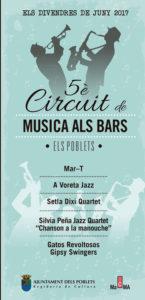 Concierto de jazz: Gatos Revoltosos Gipsy Swingers. V Circuit de Música als Bars -Els Poblets- @ Bar Gladis, Els Poblets