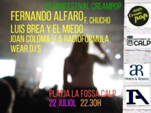 XII Mini Festival Creampop: actuación de Chucho, Luís Brea y El Miedo, Joan Colomo & la Radio Fórmula, Wear Djs -Calp- @ Playa de Levante, Calp