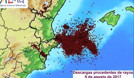 [BALANCE] 24.436 rayos entre la Marina Alta y Eivissa y 133 l/m2 llovidos sobre la comarca