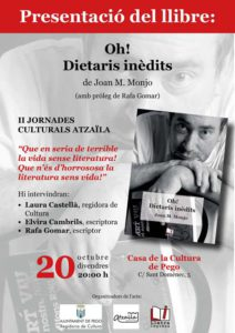 Presentació del llibre pòstum de Joan M. Monjo: 'Oh, dietaris inèdits' -Pego- @ Casa de Cultura de Pego