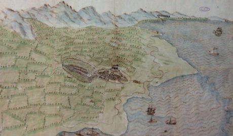 El mapa del 1575 que retrata una Dénia amb dos ports i un castell ple de cases