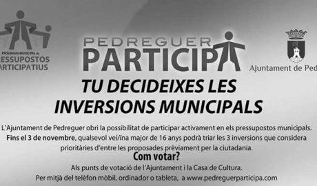 Empiezan las votaciones de los presupuestos participativos de Pedreguer