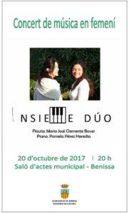 Concert: 'Música en femení' per Insieme Dúo -Benissa- @ Saló d'actes municipal, Benissa