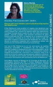Conferència: 'Efectes del canvi climàtic sobre la biodiversitat marina del Mediterrani' per Nuria Marbà -Dénia- @ Casa de la Paraula - Baleària Port.