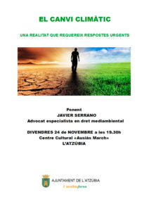 """Conferència: 'El canvi climàtic. Una relitat' per Javier Serrano -L'Atzúbia- @ Centre Cultural """"Ausiaàs March"""" de l'Atzúbia"""