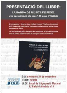 Presentació del llibre 'La Banda de Música de Pego. Una aproximació als seus 145 anys d'història' -Pego- @ Local de l'Agrupació MUsical. C/ Ràfol d'Almúnia 4, Pego