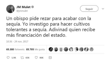 El tuit de JM Mulet en apoyo a la investigación que se ha hecho viral en las redes