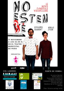 Comèdia teatral: 'No estem bé' per Eugeni Alemany i Maria Juan -Pego- @ Teatre Municipal de Pego