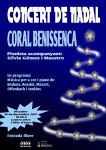 Concert de Nadal de la Coral Benissenca i la pianista Sílvia Gómez -Benissa- @ Centre d' Art Taller d' Ivars; Benissa