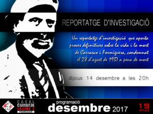Projecció del documental 'Sumaríssim 477' de M. Dolors Genovès i Lluís Montserrat -Pedreguer- @ Casal Cultural Jaume I de Pedreguer