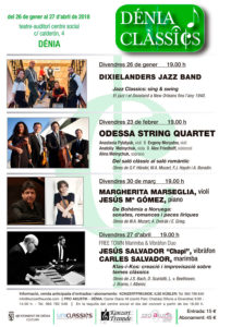 Concierto de la violinista M. Marseglia y el pianista J. Mª Gómez: 'De Bohemia a Noruega'. Festival Dénia Clàssics -Dénia- @ Teatre Auditori del Centre Social, Dénia