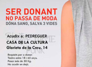 Donació de sang -Pedreguer- @ Casa Municipal de Cultura de Pedreguer  (Glorieta, núm. 14)