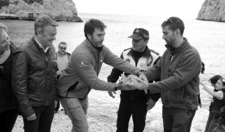 La tortuga Della regresa al mar en Xàbia ante la mirada de decenas de personas