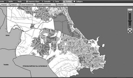 Xàbia inclou en el seu web una eina per consultar la cartografia municipal