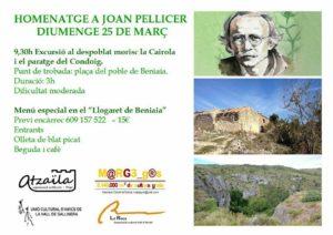Excursió al despoblat morisc La cairola i al Condoig. Homenatge a Joan Pelicer -Beniaia- @ Beniaia