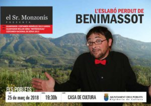 Monòleg d'humor: 'L'Eslabó Perdut de Benimassot' per Cèsar Monzonís -Els Poblets- @ Casa de Cultura, Els Poblets