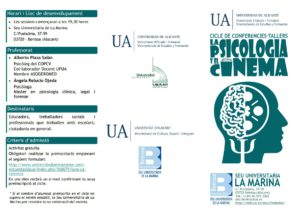 Cicle de conferències i tallers 'La psicologia i el cinema': diversitat funcional -Benissa- @ Seu Universitària de la Marina, Benissa