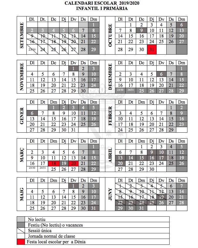 Calendario Escolar 2020 2020 Comunidad Valenciana.Asi Sera El Calendario Escolar En Denia 2019 20 Festivos El 18 Y El